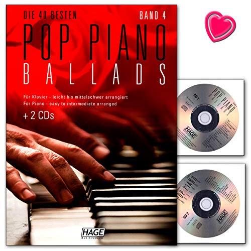 Pop Piano Ballads banda 4–Songbook con 2CDs y Bunter herzförmiger–Partituras HAGE Verlag eh39594026929920645