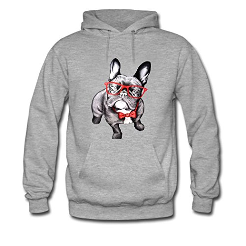 HGLee Printed Personalized Custom English Bulldog Classic Women Hoodie Hooded Sweatshirt Gray--1