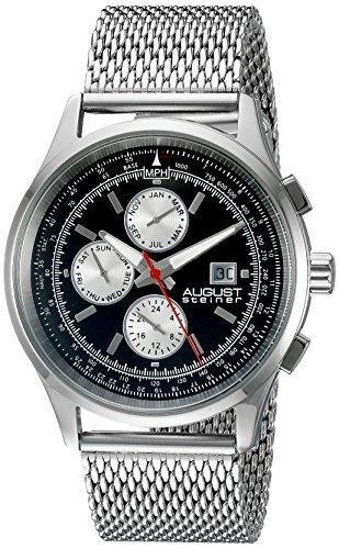 August Steiner Hommes de montre à quartz avec affichage analogique et bracelet en acier inoxydable Argenté Cadran Noir as8194ssb