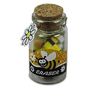 8x HC 913541commerciaux de gomme Lot de 8honigtöfchen Bouteille en verre abeilles 5cm