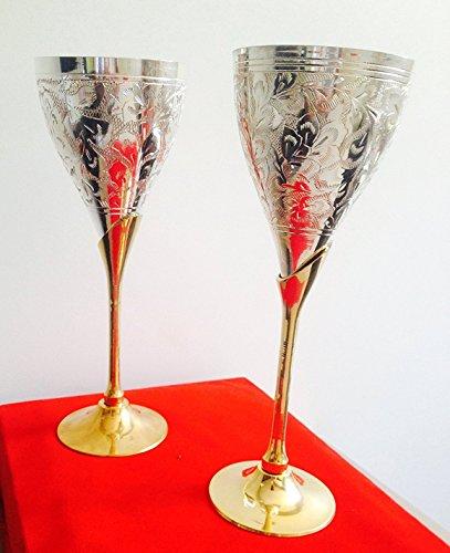 Silber & Vergoldet Gravur Goblet Champagner Flöten Coupes Wein Glas (Set von - Wein Antik