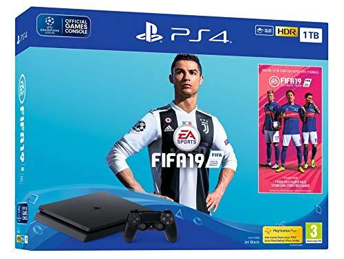 PS4 Slim 1 To F - noir + FIFA 19 + PS Plus 14 Jours (digital)
