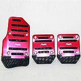 Ocamo Universal Nonslip Kupplung Bremse Gas Auto Pedal Teller-Set für Catch Auto Rot manuell