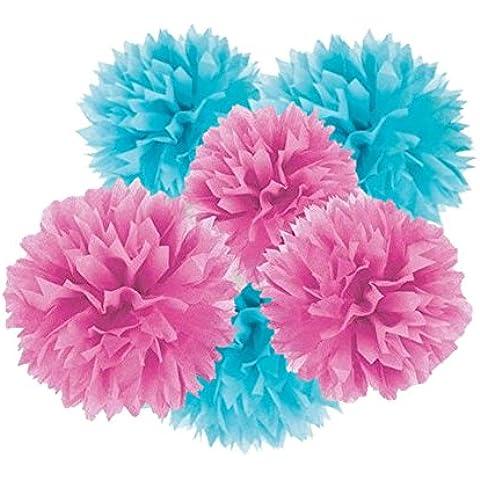 Pompón de papel de seda, 12pcs Mixed 3tamaños en 3colores pañuelos de papel flores para compromiso, boda, fiesta bebé niña habitación Guardería graduación de Navidad decoración