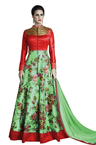 Seller King Printed Benglori Silk Anarkali Semi Stiched Dress Material (Dress_167_FreeSize_Green)