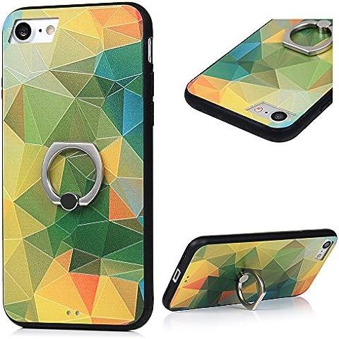 Cover per iPhone 7 Custodia con Anello KASOS Case con Bordo de TPU Morbido e l'indietro de PC Duro per Fornire il Più Alto Livello di Protezione,Modello di Triangoli D