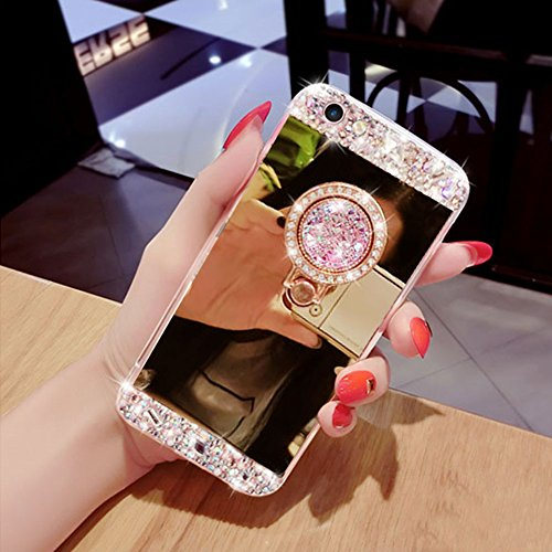 Für iPhone 7 Hülle,Für iPhone 8 Spiegel Hülle Mirror Case,Funyye Luxuriös TPU Handyhülle Gold Plating Silikon Schutzhülle Luxus Glänzend Glitzer Kristall Strass Rahmen Weich TPU Handy Tasche Ultra Dün Ring Holder,Gold