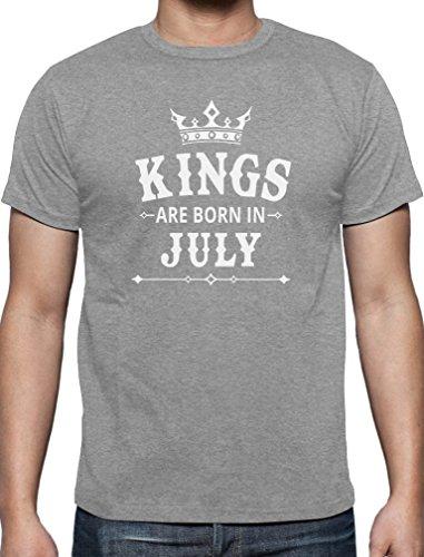 Geschenk T-Shirt für den Mann - Kings are born in Juli T-Shirt Grau