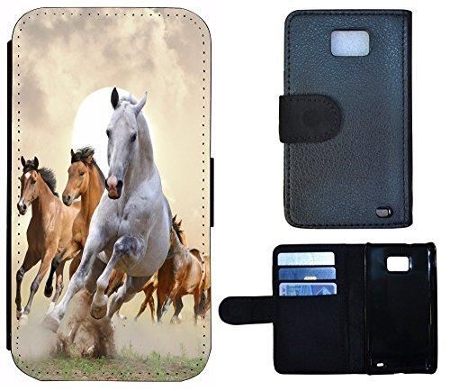 Schutz Hülle Flip Cover Handy Tasche Case Etui für (Apple iPhone 5 / 5s, 1025 Pferd Pferde Braun Weiß) 1025 Pferd Pferde Braun Weiß