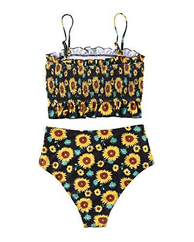 MOSHENGQI Damen Bandeau-Bikini-Set, schulterfrei, gesmokt, Badeanzug - Gelb - (42 DE/44 DE) L - 3