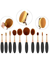 Nestling® 10PCS Kit /Set souple Oval Toothbrush Sourcils Eyeliner Fondation Blush Lip Brosses avec la boîte d'or noir