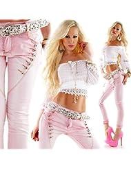 Designer Damen Jeans Secret Buttons 7 Knöpfe Jeans Skinny Röhre Hose