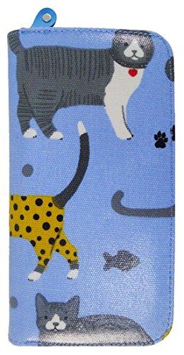 Kukubird Vari Gatti Unicorni Animali Ancora Ombrello Floreale Pattern Large Signore Borsa Frizione Portafoglio Mixed Cat Light Blue