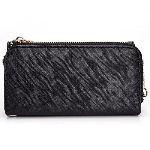 Kroo d'embrayage portefeuille avec dragonne et sangle bandoulière pour Smartphone Samsung Galaxy Ace Plus S7500 Noir/rouge Black and Orange