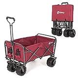 Sekey Foldable Cart Folding Wagon Outdoor Wheelbarrow Beach Cart All Terrain Utility Wagon Outdoor Garden Trailer Transport Trolley, red