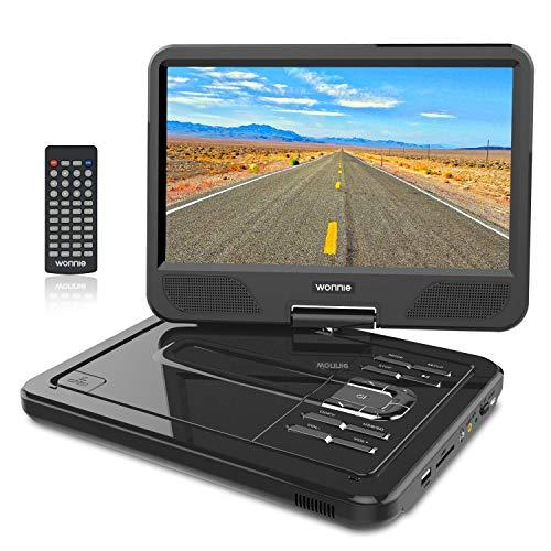 """WONNIE 10.5"""" Tragbarer DVD-Player, Schwenkbaren Bildschirm, HD Display 4-5 Stunden Akku, USB/SD Slot, Kinder (Schwarz)"""