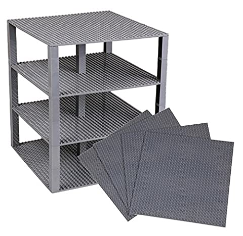 Premium Gray Stackable Base Plates - 4 Pack 10