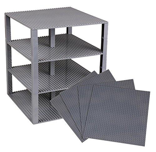 Stapelbare Premium-Bauplatten - inkl. neuen verbesserten Bausteinen mit 2x2 Noppen - kompatibel mit allen großen Marken - geeignet für Turm-Konstruktionen - Set aus 4 Platten - je 25,4x25,4 cm - Grau