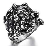 XIABME Hombres Anillo del Acero Inoxidable del Tono de Plata Negro mitología Griega Medusa Serpiente