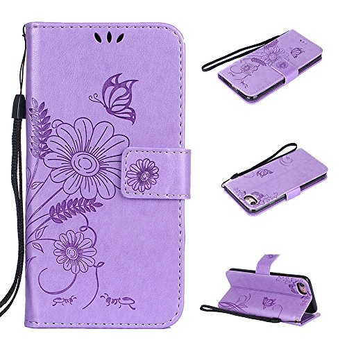 Cover per iPhone 8 / iPhone 7, Vectady Cover Custodia in Pelle a Libro Portafoglio Wallet Magnetica Flip Cuoio Leather Case Protettiva Antiurto Caso con Porta Carte Funzione Cinturino da Polso Disegni Viola Chiaro Colore