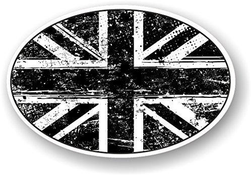 Grunge Oval Design mit Aged B & W Union Jack Britische Flagge Motiv für Motorrad Auto Van Aufkleber 120x 80mm (Vintage Motorräder Britische)