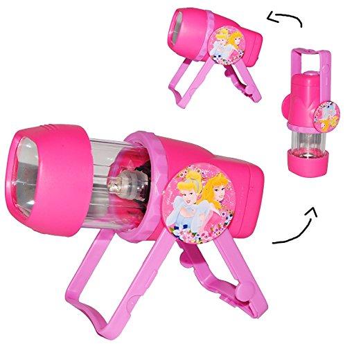3 in 1: Kombi - Taschenlampe LED - Disney Princess - zum Aufstellen oder als Tragelampe - für Kinder Lampe mit Projektor - Licht Auto Kindertaschenlampe - Mädchen Prinzessin - Dornröschen Aschenputtel / Projektor Campinglampe - Kinderlampe - Tischlampe Stehlampe