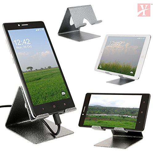 YT Mobile Phone Metal Stand / Holder For Smartphones and Tablet - Antique Silver (Proudly MADE IN INDIA)