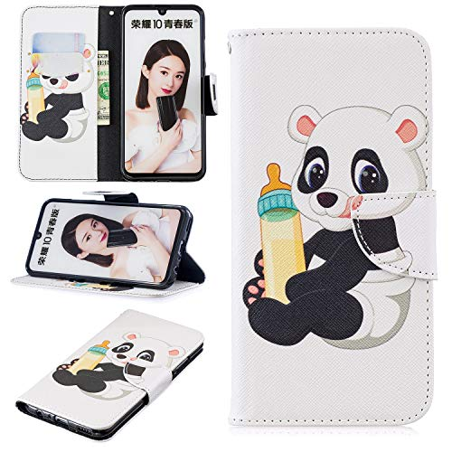 Price comparison product image Ostop Painted Leather Wallet Case for Huawei Honor 10 Lite / P Smart 2019 Case, [Kickstand Feature] Baby Milk Bottle Panda Printed Pattern White PU Magnetic Flip Cover with Card Slots Shockproof Shell