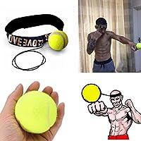 IGemy - Banda para la cabeza con pelota para entrenamiento de reflejos y velocidad para boxeo - Ejercicio de puños de boxeo amarillo