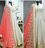 Rangrasiya Corporation Women White Banglori Silk Anarkali Salwar Suits