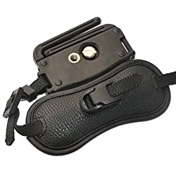 First2savvv Osh0402 Professional Wrist Grip Black Genuine Leather Hand Strap For Samsung Galaxy Nx Digital Camera Smart Camera Wb1100f Panasonic Lumix Dmc-fz1000eb Lumix Dmc-fz200 Sony Alpha 77 M2 Dslr Ilca-77m2 Alpha 77 M2 Dslr Ilca-77m2q A7s Full Frame Mirrorless Camera Ilce-7s A7 Full Frame Mirrorless Camera Ilce-7 A7 Full Frame Mirrorless Camera Ilce-7k A7 Full Frame Mirrorless Camera Ilce-7r With Lens Cleaning Cloth