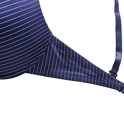 UKKD BHS für Damen, gestreift, spitz, B C, Push-Up-Pad, Draht Unterwäsche, BH, Bralette Intim-Reißverschluss vorne Gr. 85B, LT - 7