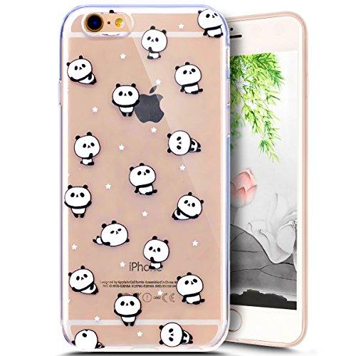 Coque Housse Etui pour iPhone 6 Plus/6S Plus, iPhone 6S Plus Coque en Silicone Clear Etui Housse,iPhone 6S Plus Silicone Coque Transparent Housse Etui Gel Slim Case Soft Gel Cover Skin, Ukayfe Etui de Panda