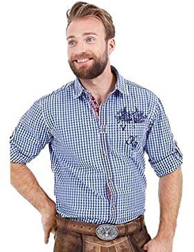 Michaelax-Fashion-Trade Krüger - Herren Trachtenhemd in Blau, Hirsch Buam (93100-8)