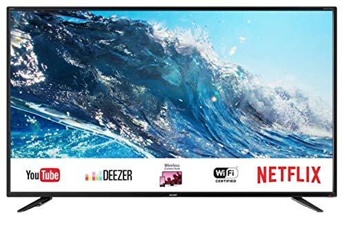 SHARP 4K Ultra HD Smart LED TV, 139 cm (55 Zoll), Harman/Kardon Soundsystem, 3 HDMI Anschlüsse, LC-55UI7252E, Schwarz,