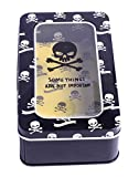 Enwraps yellow skull print top display multipurpose metal/tin utility box for school/office/home use. LWH(cms)= 16x9.5x5