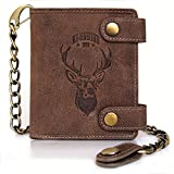 "Klondike 1896 genuine leather wallet with chain ""Tim"", high-quality leather wallet, brown"