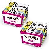 Vmosgo 27XL Remplacement pour Epson 27 27XL Cartouches d'encre Grande Capacité Compatible avec Epson Workforce WF-3620 WF-3640 WF-7110 WF-7610 WF-7620, Pack de 8(2 Noir, 2 Cyan, 2 Magenta, 2 Jaune)