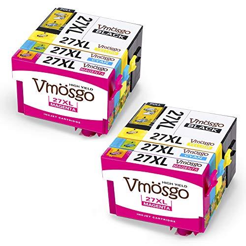 Vmosgo 27XL Sostituzione per Epson 27 27XL Cartucce d'inchiostro, Compatibile con Epson Workforce WF-7610 WF-3620 WF-7110 WF-7620 WF-3640 WF7610 WF3620 WF7110 WF7620 (Nero, Ciano, Magenta, Giallo)