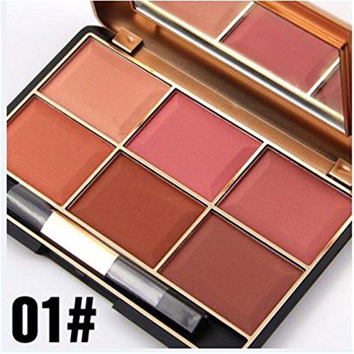 BrilliantDay 6 Colores Cara Polvos Coloretes / Blush Paleta de Maquillaje Cosmética #1