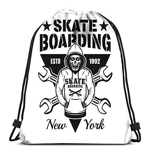 Randell Gym Drawstring Backpack Sport Bag Skeleton Hoodie Two Crossed Wrenches Emblem Vintage Monochrome Style Wh Lightweight Shoulder Bags Travel College Rucksack for Women Men