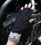 Sommer Halbfinger Handschuhe Baumwolle Fahrradhandschuhe Kurz Spitzenhandschuhe Anti-Rutsch, Anti-UV Schutz, Dünn Sonnenschutz Fäustlinge Gloves für Fahren Golf Outdoor Motorrad Radfahren