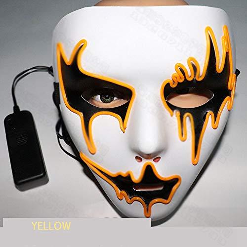 MYLEDI LED Maske Halloween Kostüm Horror Maske Mit Controller (Ohne Batterie) 4 Arten Von Steuerungsmethoden, Geeignet Für Halloween Karneval Maskerade Und So Weiter,Gelb,L (Kostüm Controller)