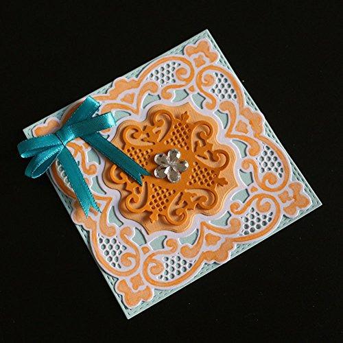 Qinpin Stanzschablonen mit Blumenmotiv, Metall, für Scrapbooking, Album, Papierkarte, Karbonstahl, g, Einheitsgröße