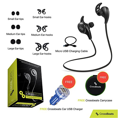 Crossbeats Ultra Wireless Bluetooth Headset V4.1 Sports With Mic/Apt-X For Iphone, Ipad, Samsung, Android Smartphone Tablets