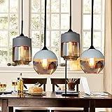 Lx.AZ.Kx E27 Vintage Industrieleuchte Modern Pendelleuchte Beleuchtung Cafe Leuchter Die Nordischen moderne Loft Glas Pendelleuchten antiken Pendelleuchten, der Gastronomie, braun + grau
