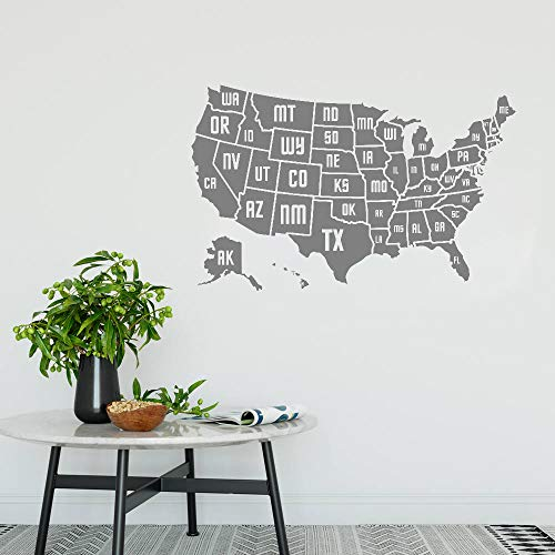 yhyxll USA Karte Wandaufkleber Aufkleber Vinyl Home Office Wanddekor Wandbild Moderne Kunst Karte der Amerika Abnehmbare S 66 cm x 42 cm - Usa-wand-kunst Der Karte