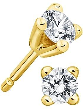 Juwelier Gelber Diamant Ohrstecker Lupenrein 0,50 ct 585 14 Kt Filigrane 4er Krappen Fassung Brillant Schliff...