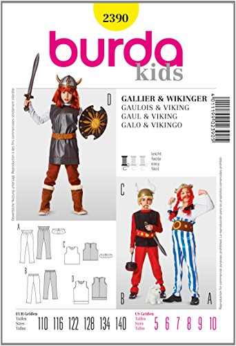 Burda B2390 Patron de Couture Gaulois et Viking 19 x 13 cm