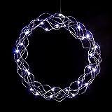 LED Kranz Lichterkranz in kaltweiß oder warmweiß mit Timer-Funktion und Batterie (30 cm), Farb-Design:Silberdraht / weisse LEDs